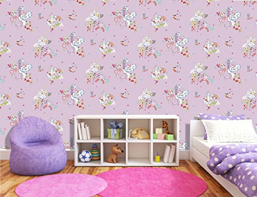 Unicorn, princesses, castles, clouds wallpaper, lilac, girls bedroom.