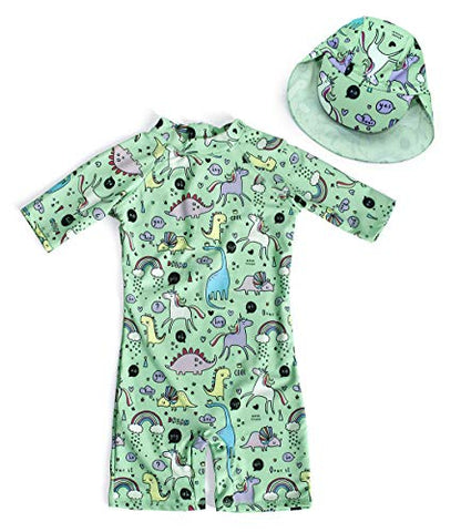 Jurebecia Girls Unicorn Swimming Costume Green