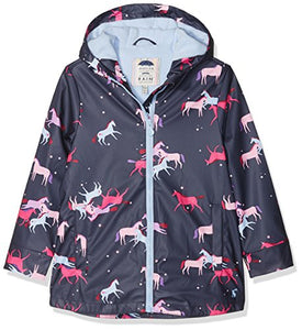 Joules Girls Rain Coat Raindance, Magical Unicorn, Blue