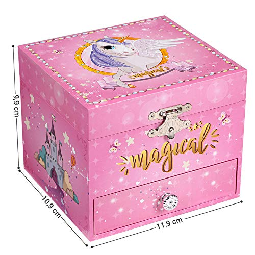 Unicorn and Ballerina Musical Jewellery Box, Small Wind-Up Music Box with Storage, Pullout Drawer, for Little Girls, Pink
