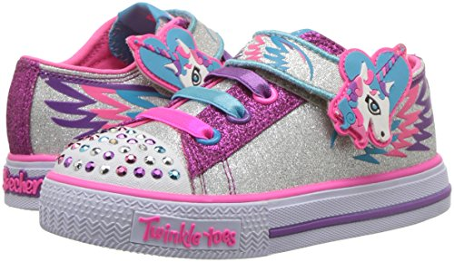 Silver pink glitter unicorn Skechers girls sneakers