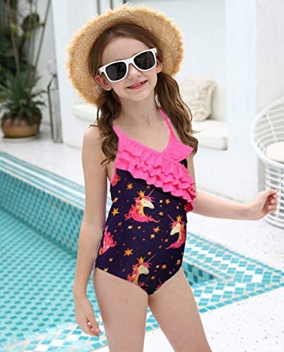 Unicorn swimming costume girls pink