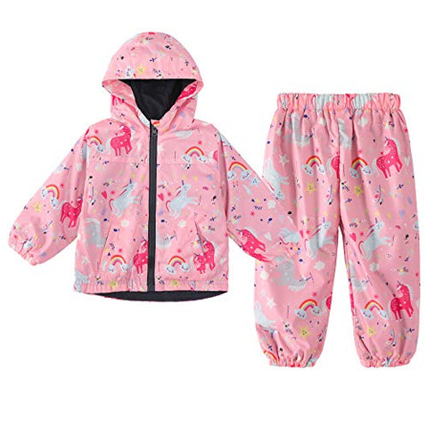 Girls Waterproof Raincoat Set | Outdoor Unicorn Rain Jacket & Trousers | Pink | 2Pcs