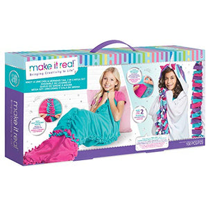 Make It Real - Unicorn &Mermaid Blanket Set - DIY Arts & Crafts for Girls | Unicorn Gift