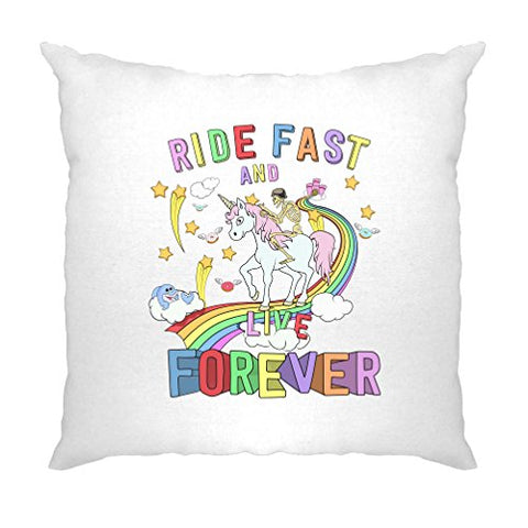 Skeleton Riding A Unicorn Down A Rainbow Biker T-Shirt Hardcore Alternative Rock Metal Girly Punk Cute Original Unique Design Novelty Cushion Cover Sofa Home Cool Birthday Gift Present
