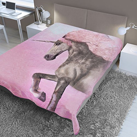 Magical Unicorn Bed Throw Pink