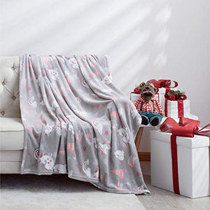 Unicorn Soft Fleece Blanket | Throw | 150×200 cm | Grey, Pink
