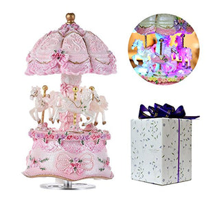 Colour Changing Carousel Music Box |  Unicorns & Horses | Pink Ornament