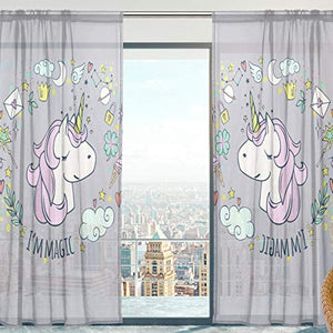 Cartoon Unicorn Grey and Pastel Soft Sheer Curtains 140cm x 198cm 2 Panels