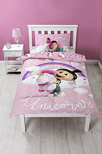 Despicable Me Unicorns Duvet Set, Polyester-Cotton, Pink, Single