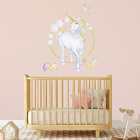 Mythical Unicorn And Flowers Wall Sticker (Large size)