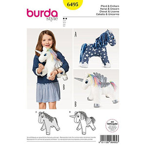 Unicorn Sewing Pattern | Burda Crafts | 6495 | Stuffed Animal Horse & Unicorn Toy