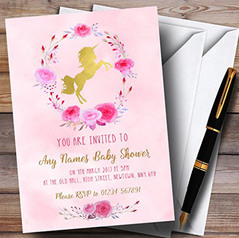 10 x Invitations | Pink Watercolour | Unicorn  Baby Shower Invites | Any Wording