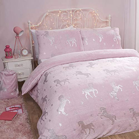 Pink & Silver Foil Unicorn Reversible Soft Duvet Cover - Single (135cm x 200cm)