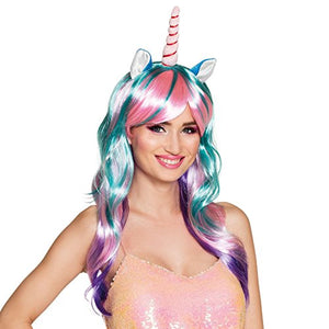 Pastel Pink Unicorn Horn Wig with Ears Fancy Dress Costume