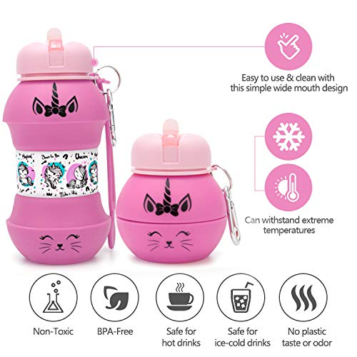 AToZ UK Unicorn water bottle for kids, 550ml/19 oz Collapsible Silicone reusable water bottle, BPA Free, Leakproof, Fun unique ball design with exclusive print, for girls (Pink)