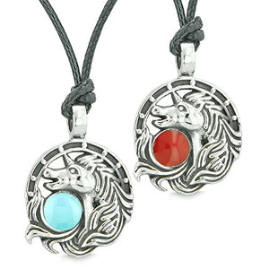 Unicorn Best Friends or Love Couples Amulets Lucky Horse Shoe Baby Blue Red Pendant Adjustable Necklaces
