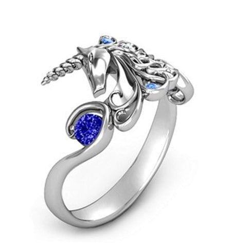 Sterling Silver Women's Unicorn Charm Ring - Blue Gemstones