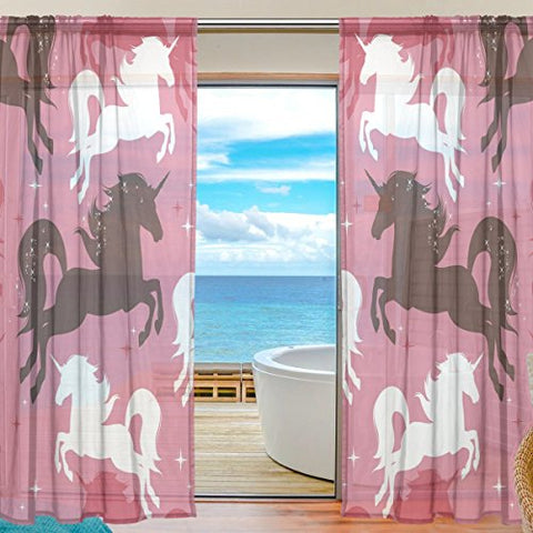 Pink Unicorn Pattern Curtain Sheer Voile