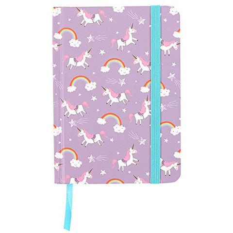 unicorn rainbow notebook with bookmark and elastic strap