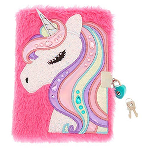 Unicorn Plush Lock Diary for Girls | Pink | Includes Lock with 2 Keys |Lined Paper, 6x8 Inches