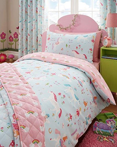 Single Duvet Set & Curtains - Girls Unicorn Fairies & Rainbow Bedding