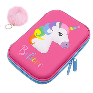 Pencil Case, Cute Unicorn EVA Pen Pouch Stationery Box Anti-shock Large Capacity Multi-compartment for School Students Girls Teens Kids (pink)