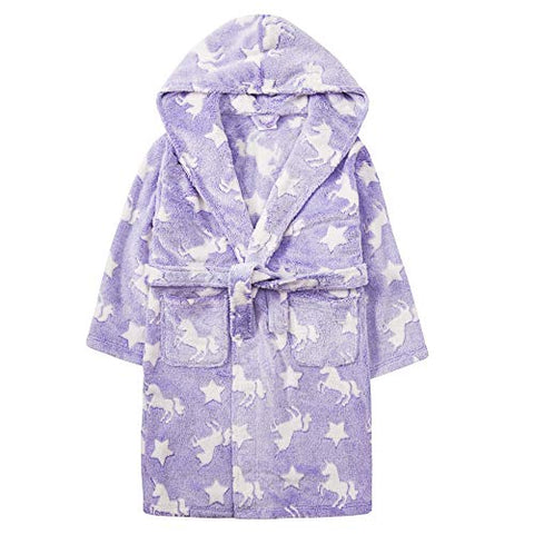 Lavender Unicorn & Stars Dressing Gown For Girls