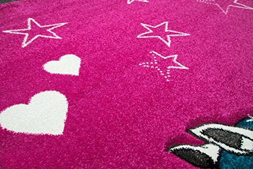 Lovely unicorn rug for girls with stars and hearts