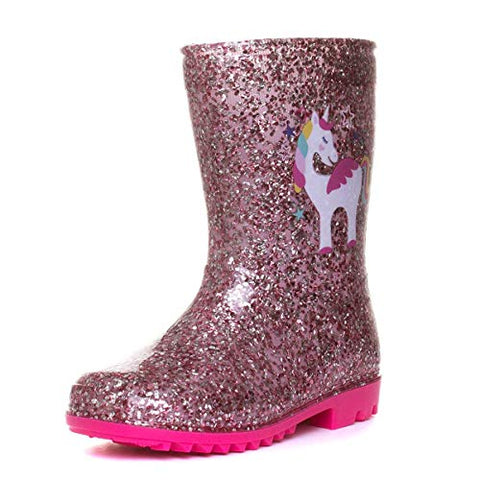 Girls Pink Unicorn Glitter Wellington Boot | Childs | Various Sizes