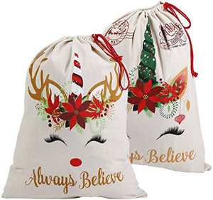 2pcs Christmas Unicorn Santa Sacks | Drawstring Bags | Large Bags