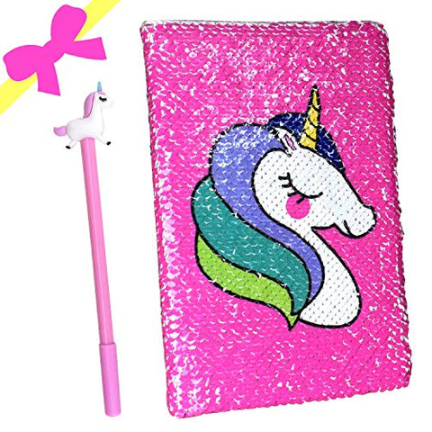 Pink Sequined Unicorn Notebook &  Gel Pen Set