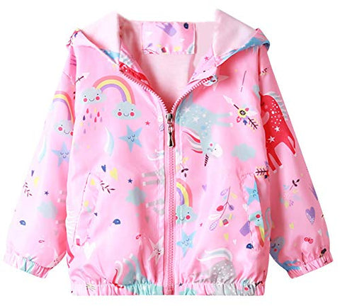 Unicorn, Rainbow, Stars | Hooded Jacket Waterproof | Windbreaker Coat | Girls | Pink