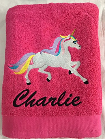 unicorn bath towel red