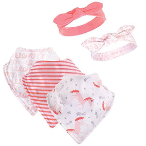 Coral Unicorn Bib & Headbands Set, 5 Piece, 0-9 Months
