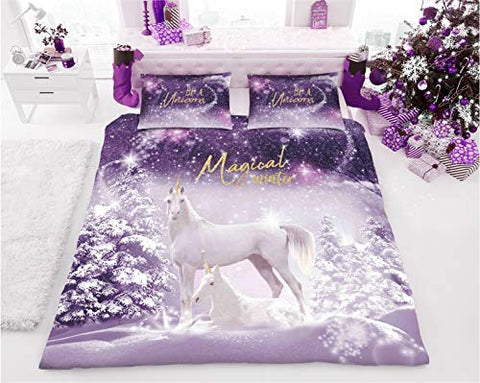 Christmas Winter Unicorn Duvet Cover Sets | Single | Double | Kings Sizes Available
