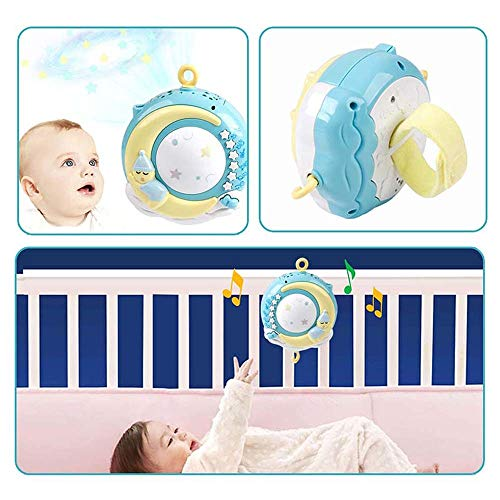 Moonvvin Baby Mobile for cots with Music, Crib Mobile with Night Light and Projector, Remote and Toy Pastels