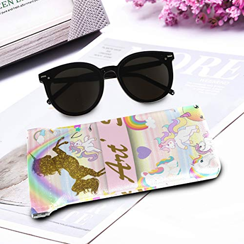 Unicorn glitter pastel glasses case