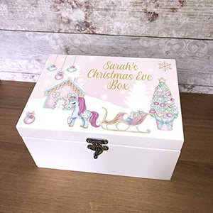 Personalised Magical Unicorn Pink Wooden White Christmas Eve Box