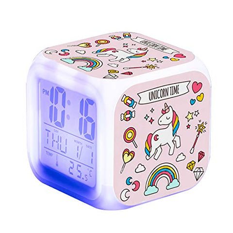 Unicorn Digital Alarm Clock For Girls, 7 Colours Changing Light