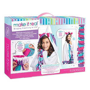 Make It Real – Wearable Unicorn Hoodie Blanket | Arts and Crafts Kit For Girls | Knotted Blanket