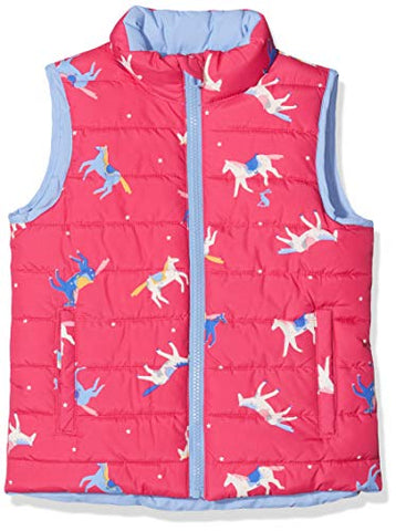 Joules Girl's Flip It Gilet | Unicorns | Pink, Multicoloured | Reversible