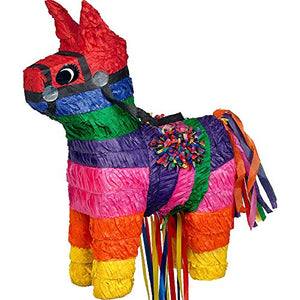 Unicorn Multicoloured Rainbow Pull String Pinata - 1 PC - Party Decoration