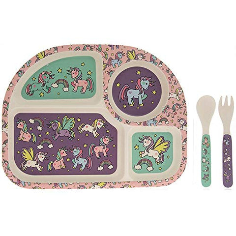 Cute Unicorn Bamboo Section Dinner Plate and Cutlery Set for Kids