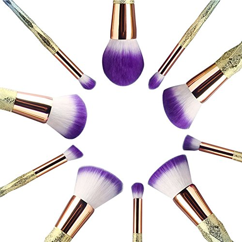 Beautiful purple tip bristled make up set. Unicorn handles in pastel colours.