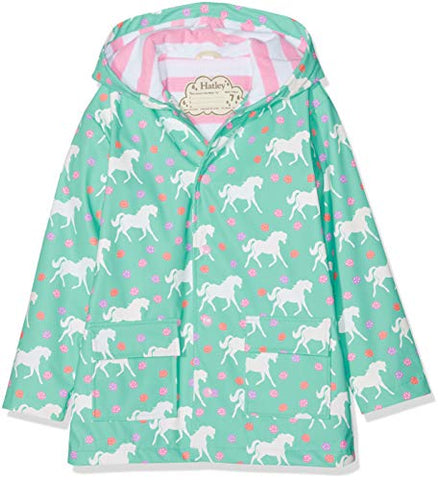 Hatley Girl's Printed Raincoat, Unicorns, Mint Green (Colour Changing)
