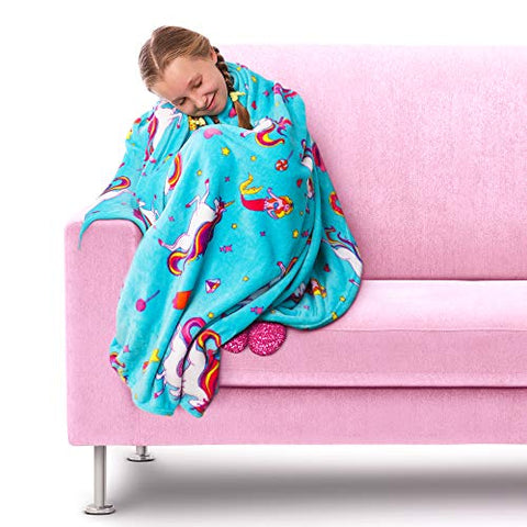 Soft Fluffy Unicorn Fleece Throw | Blanket | For Girls | GirlZone