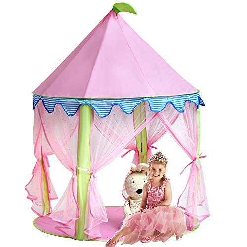 Sonyabecca Girls Play Tent&Princess Castle Portable Playhouse, Pink Pop up tent for Kids Indoor/Outdoor Game