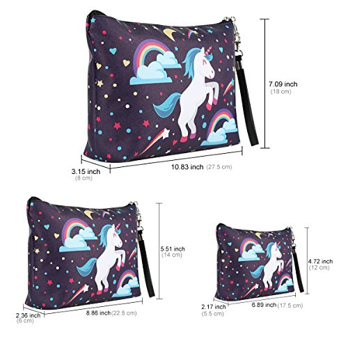Set of 3 Unicorn Toiletry Make-Up bags