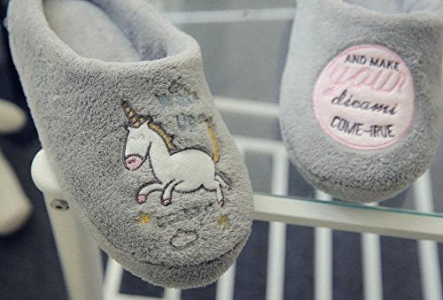 Scrox 1Pair Cozy Cotton Slipper Cute Cartoon Unicorn Winter Indoor Bedroom Non-slip Slippers Plush Slippers Unisex Soft Sole Comfy House Shoes size 36-37/24CM,UK 3-4